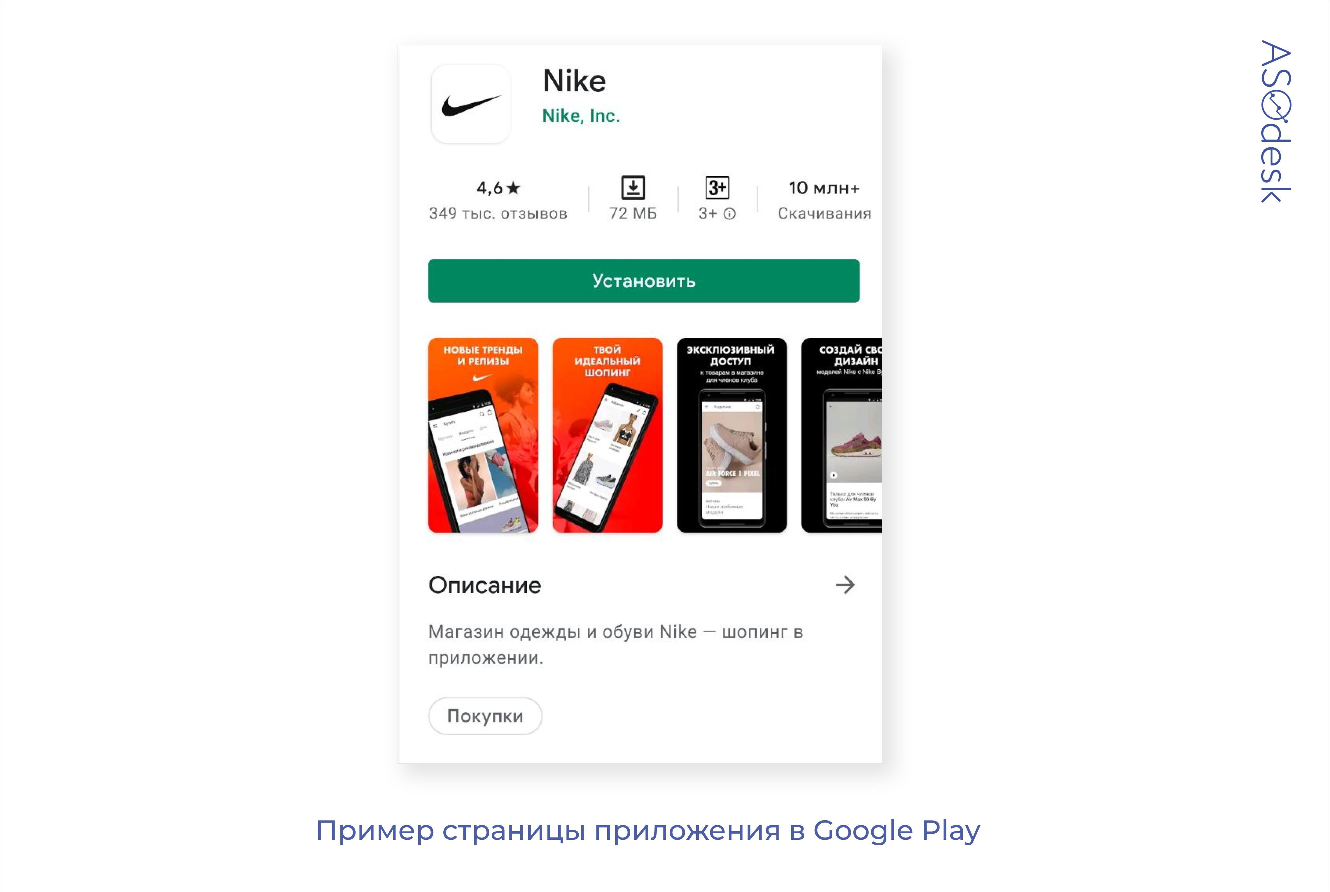 Страница приложения Nike в Google Play