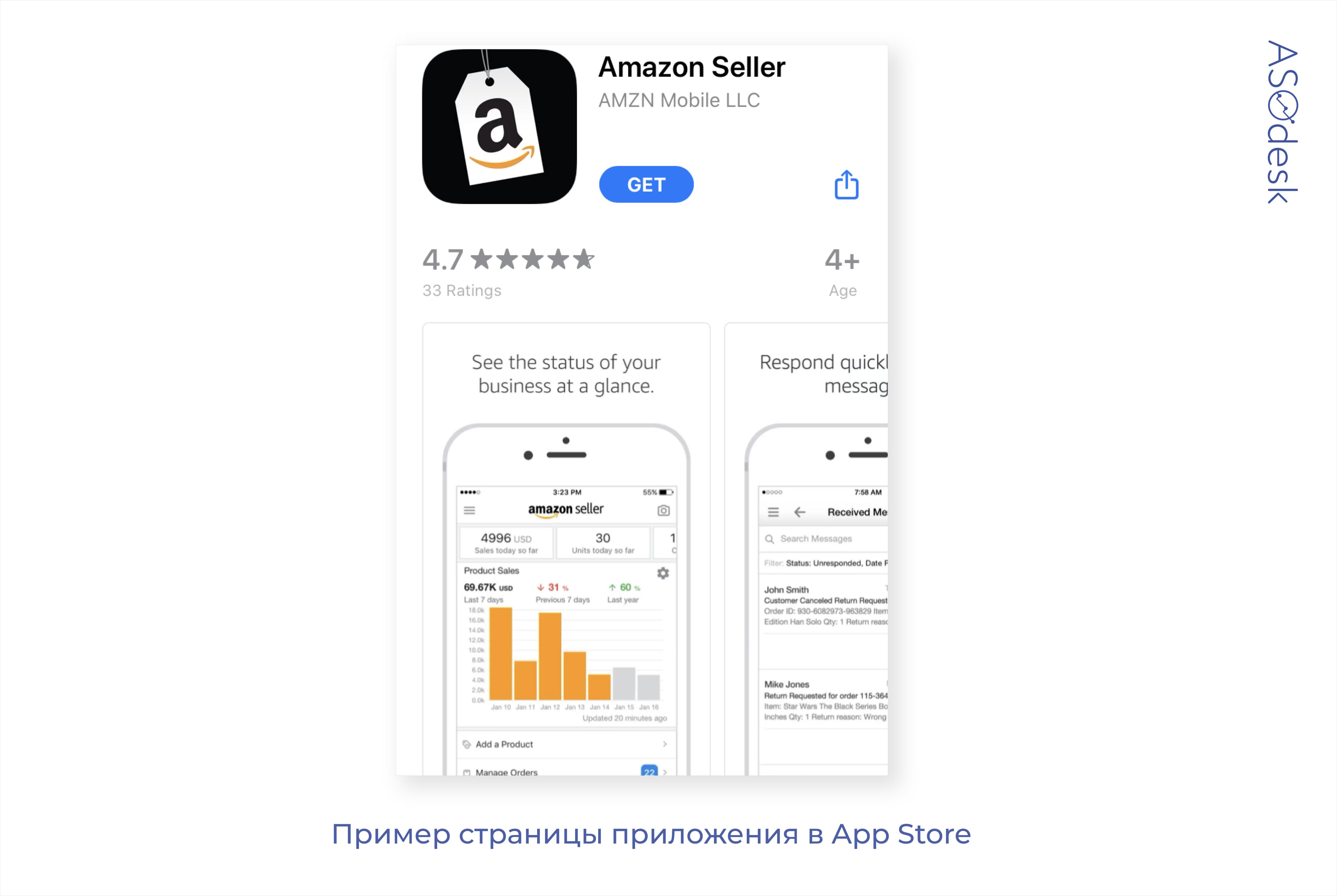 Страница приложения Amazon в App Store