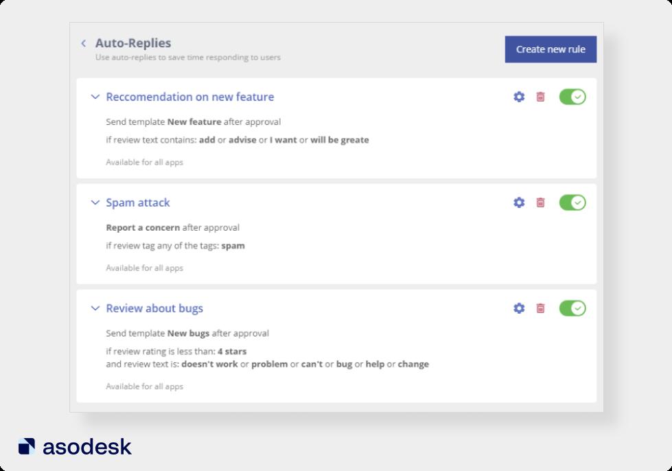 В Asodesk вы можете настраивать автоматические ответы на отзывы из App Store и Google Play