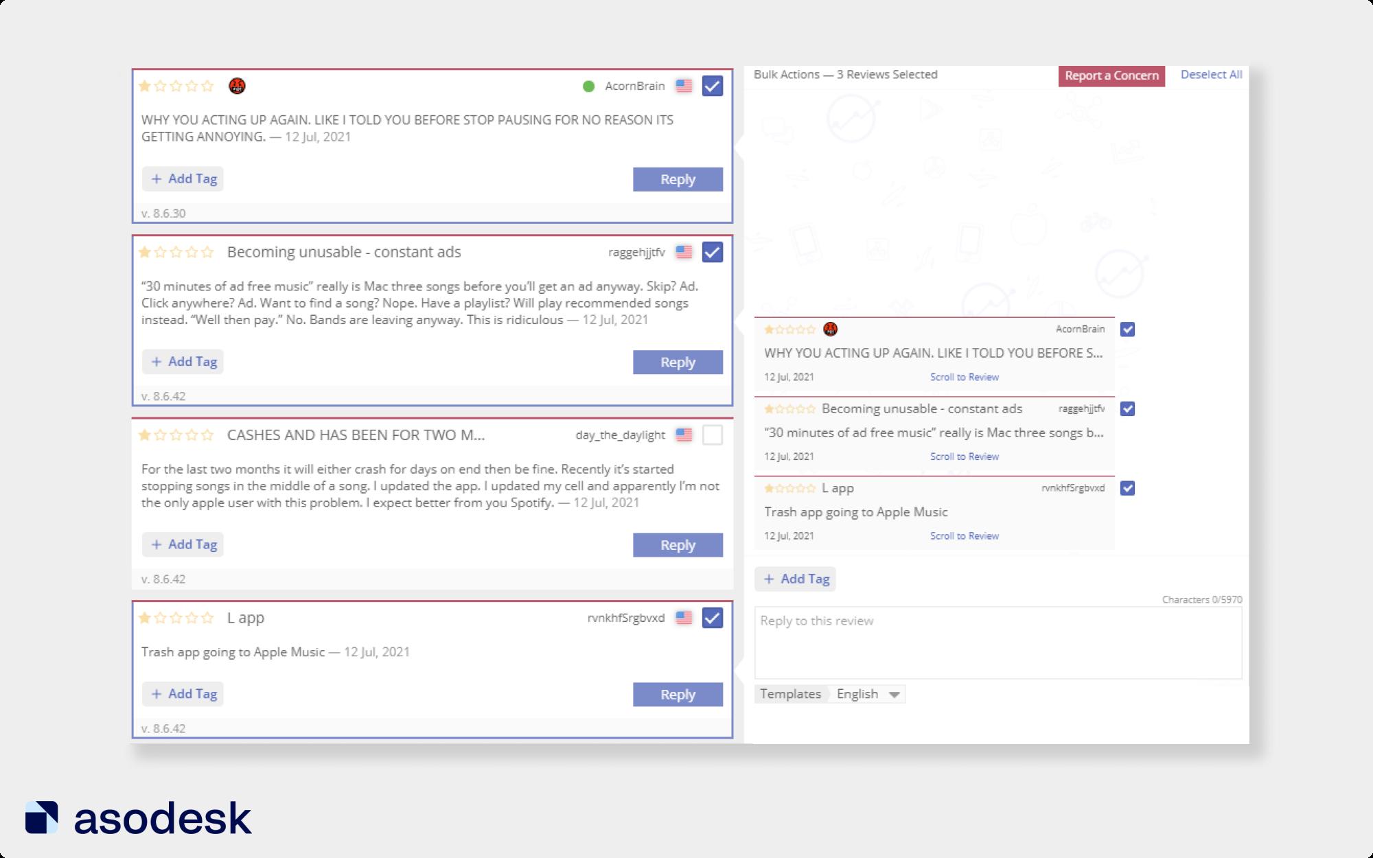 Вы можете пожаловаться на один или несколько отзывов на приложение в App Store или Google Play через Asodesk