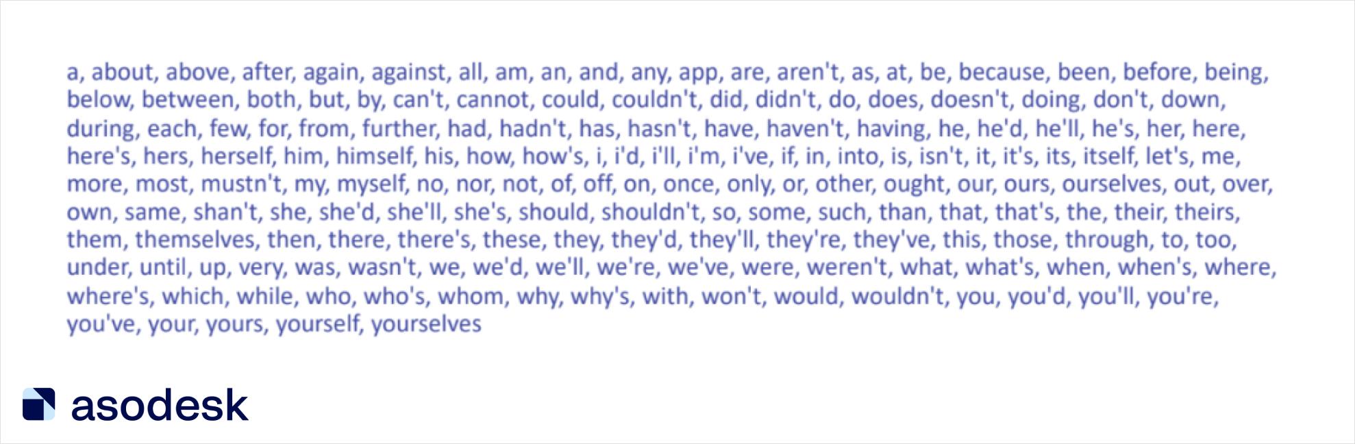 Стоп-слова в App Store не нужно добавлять метаданные, так как App Store учитывает их по умолчанию